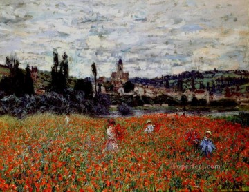 Claude Monet Painting - Poppies near Vetheuil Claude Monetcirca